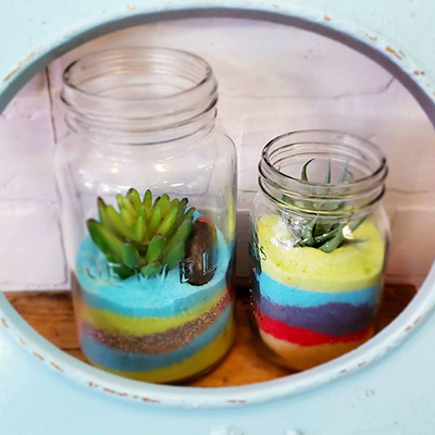 salt-art-jar-with-faux-succulent